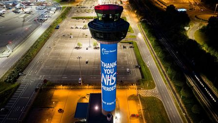 London Stansted Airport's NATS air traffic control tower had images thanking the NHS. Outdoor projec