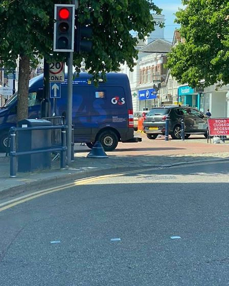 The new measures in place in Hitchin town centre include parking bays being suspended and large barr