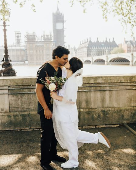 Jann wore white scrubs and Annalan wore black scrubs for a photoshoot after the ceremony. Picture: R