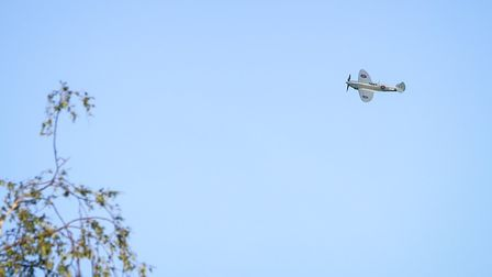 Spitfire PL 983 from Historic Flying, Duxford, gave a flypast to thank the NHS at the end of the Cla