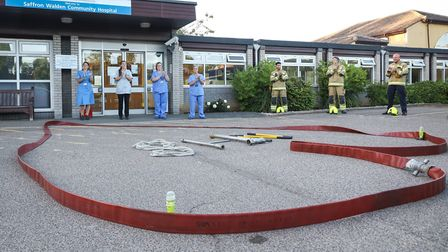 Fire crews set out some equipment to honour the NHS. Picture: CELIA BARTLETT PHOTOGRAPHY