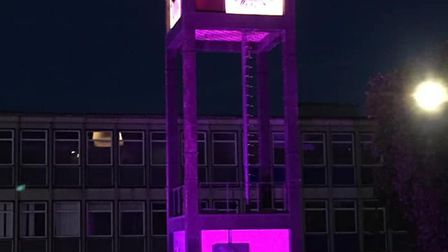 Stevenage Clock Tower illuminated in purple in support of the Black Lives Matter movement. Picture: