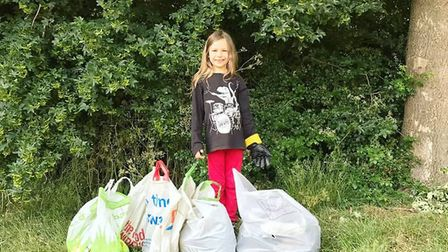 8-year-old Molly from Stevenage has been cleaning up her streets for Earth Guardians Stevenage UK. P