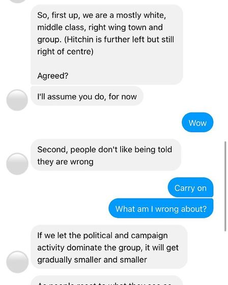 The private messages from a now former admin of the 'We Are From Hitchin Hertfordshire group'. Pictu