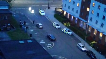 A heavy police presence outside the Holiday Inn Stevenage last night. Picture: Jeremy Williams