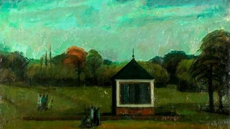 A 1950 oil canvas of the bandstand from artist Gordon House. Picture: Letchworth Museum