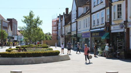 Shoppers returned to Letchworth town centre this morning as non-essential stores reopened. Picture: