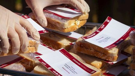 Stevenage FC and the club's charity foundation have delivered their 10,000th sandwich as part of the