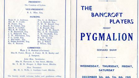 A copy of the original programme of The Bancroft Players' 1945 production of Pygmalion. Picture: sup