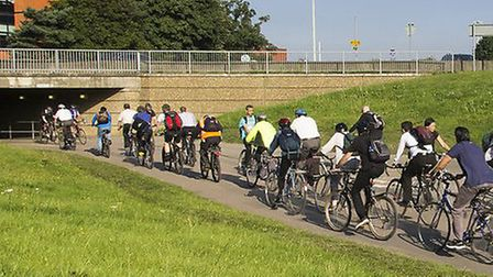 Stevenage cycleways are often littered with broken glass. Picture: Cycling UK