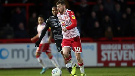 Ben Kennedy of Stevenage during the game with Colchester United in January. Picture: DAVID SIMPSON/T