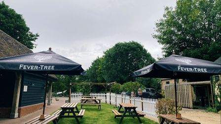 The beer garden at The Plough, Great Chesterford. Photo: Andra Maciuca.