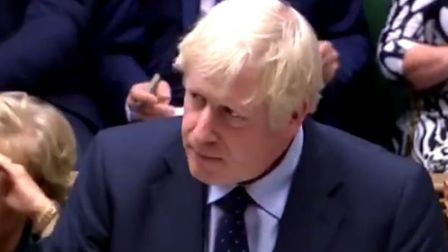 Boris Johnson in the House of Commons scenes. Picture: Parliament TV.