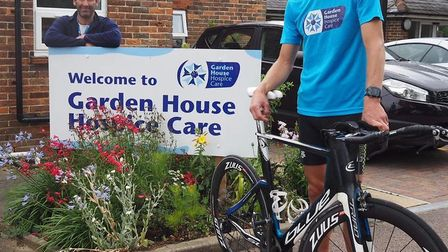 Simon pictured with Garden House Hospice Care's Jake Amos. Picture: GHHC