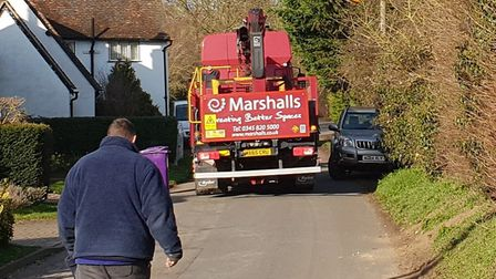 Croft Lane, in Letchworth, as a large HGV attempts to pass. Picture: Kevin Hinton