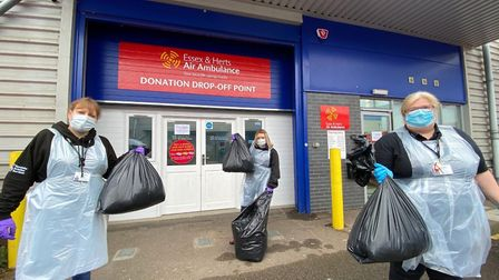 EHATT staff with bags of donated rubbish. Picture: EHAAT