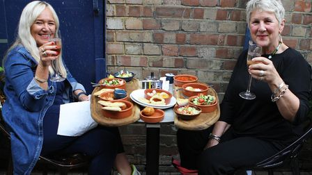 Julie Merryfield and Jane Foster enjoy a meal out at Cinnabar, Hitchin.Picture: Karyn Haddon