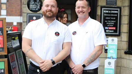 John Paul Matthews and Phil Sloane, welcome customers back to the Rose & Crown, Hitchin on 'Super Sa