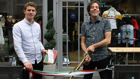 Tom Hardy, Hitchin town centre manager, and Rick Gaglio, Owner of TwistedFabric, officially open the