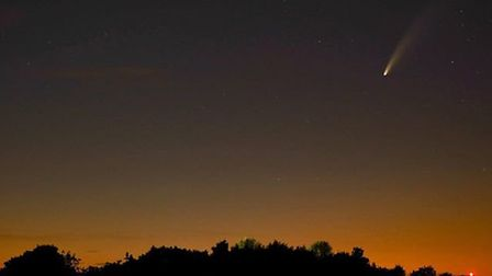 Comet NEOWISE was captured on camera by one quick-thinking Stotfold resident. Picture: Supplied