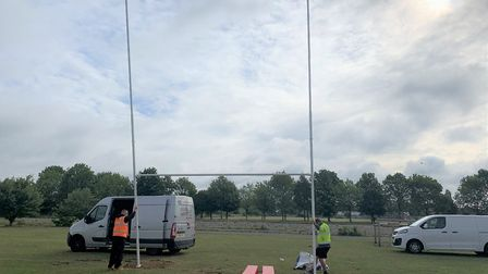 New rugby goal goes up at Carver Barracks. Picture: SUPPLIED