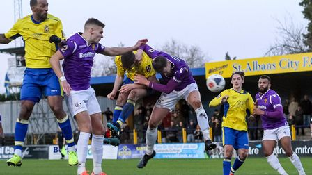 New Stevenage signing Ross Marshall challenges Jefferson Louis during Maidstone United's 1-0 defeat