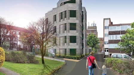 The proposals would see two connected five-storey blocks of flats built in Garrison Court, Hitchin.