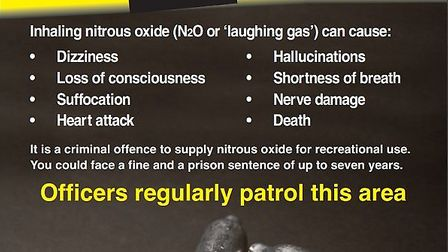 Stevenage police are warning of a rise in laughing gas users in the town. Picture: Herts police