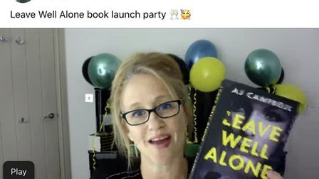 Stansted author AJ Campbell during her online book launch. Picture: Facebook