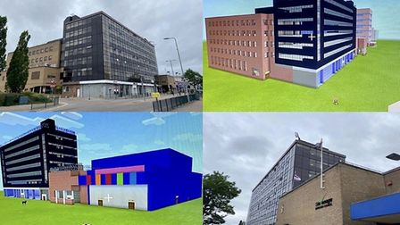 Andy Steele has recreated some of Stevenage's iconic buildings in the popular game Minecraft. Pictur