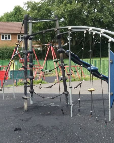 Pieces of equipment in Peartree Park and Ridlins Park in Stevenage have been set on fire in the last