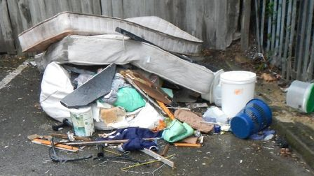 The fly-tipped waste in Such Close, Letchworth Garden City. Picture: NHDC