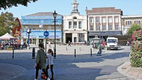 Market Place, Hitchin will become an 'Eat Alfresco' outdoor dining area from Monday, July 27. Pictur
