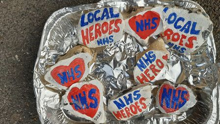 These painted stones were left at Saffron Walden Community Hospital to thank NHS workers. Picture: L