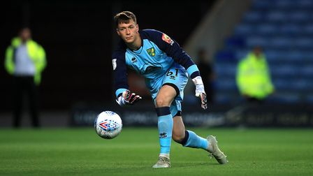 New Stevenage signing Billy Johnson in action for Norwich City against Oxford United in the EFL Trop