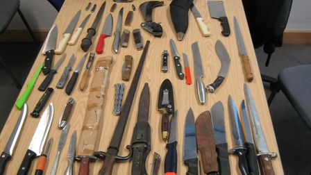 Knives that were previously handed in to Stevenage Police Station. Picture: Herts police