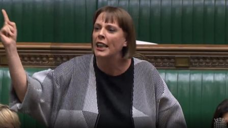 Jess Phillips delivers a passionate speech in the House of Commons. Photograph: Parliament TV.