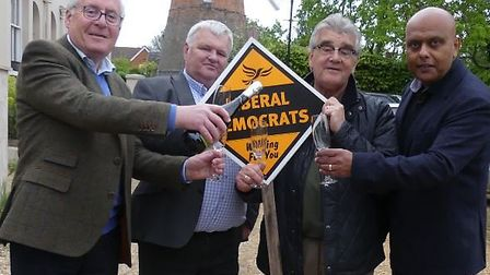 Succesful Liberal Democrats in the Stansted wards: (L-R) Alan Dean, Geoffrey Sell, Melvin Caton, Ayu