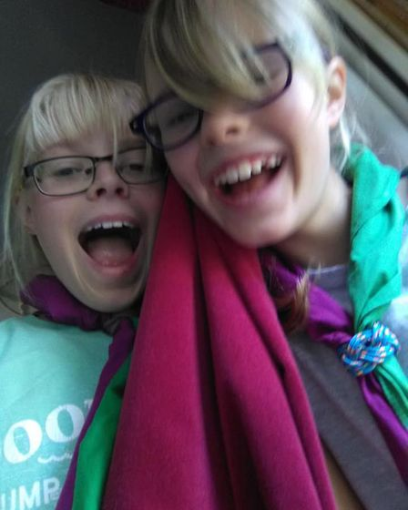 Amy and Emma of 5th Saffron Walden Scorpius Scouts during WILD (Walden In LockDown), a virtual camp.