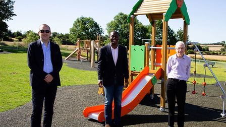 Bim Afolami MP was joined by Cllr Martin Stears-Handscomb (R) and Gavin Cansfield (L). Picture: Kevi