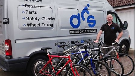 Darryl Shields, of DTS Cycle Services in Stotfold, has serviced and repaired four donated bikes free
