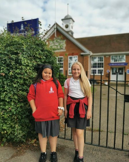 """Dionne and Chloe, who have just left Wilshere-Dacre Junior Academy in Hitchin. Claire Kirby said: """"B"""