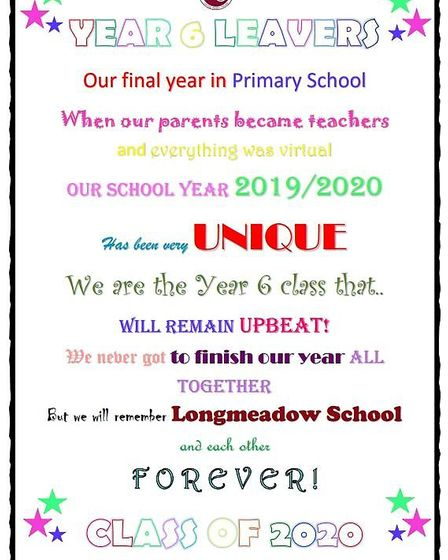 Longmeadow School in Stevenage held a Zoom leaving party with children at home and in school. Pictur