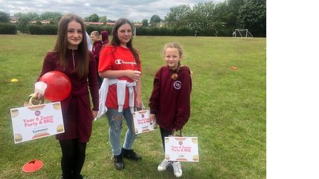 Summer, Leanne and Lola from Longmeadow School in Stevenage took part in a Zoom leaving party with c
