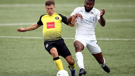 Tyrone Marsh (right) during Boreham Wood's National League play-off semi-final defeat at Harrogate T