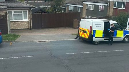 Forensic officers are at the scene of a potential crime in a residential road in Stevenage. Picture: