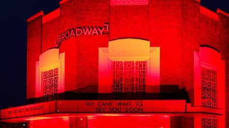 Broadway Cinema and Theatre was illuminated in red on Friday evening, in solidarity with the theatre