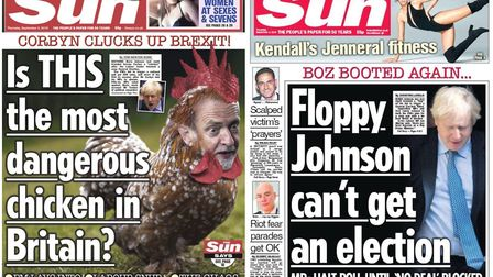 The Sun had two very different takes on the same political drama. Picture: The Sun