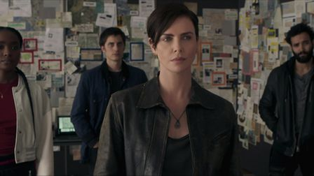 The Old Guard (left to right): KiKi Layne as Nile, Luca Marinelli as Nicky, Charlize Theron as Andy,