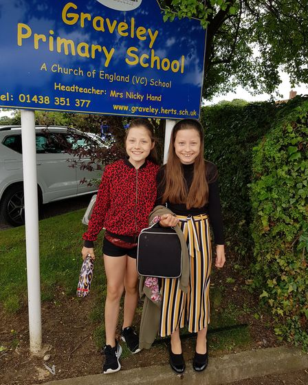 Jane and Lauren Griffin, who are leaving Graveley Primary School and starting at The Thomas Alleyne